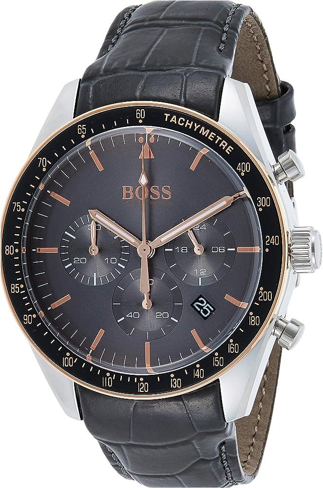 Hugo boss orologio cronografo uomo con cinturino in pelle 1513628