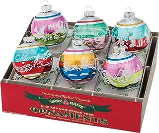 Christopher Radko Holiday Confetti Round Glass Ornaments 3.25