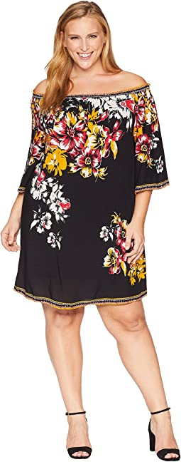 Plus Size Sena Off the Shoulder Printed Dress