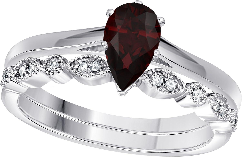 GemsandJewels 1,00ct Birne & Round Cut Granat-Rot CZ 925Sterling-Silber Art Deco, Vintage-Design Hochzeit Brautschmuck-Set