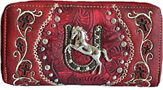 Stony West Western Horse Concho Horseshow Floral Cross Rhinestone Tooled Zipper Wallet (Red)