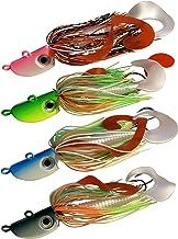 4 New Bearded Buzzbait Bucktail Saltwater Jigs Flounder, Fluke, Bass, Bluefish, Blackfish, Seabass Offshore, Surf Fishing ...
