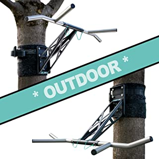 PULLUP & DIP Portable Pull Up Dip Bar, Mobile for Wall Mount and Tree/Post, Indoor & Outdoor Pull Up Dip Bar Combo for Home and Garden/Park, Premium Quality Chin Up Dip bar