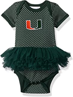 Two Feet Ahead NCAA Miami Hurricanes Children Girls Pin Dot Tutu Creeper,Nb,Green