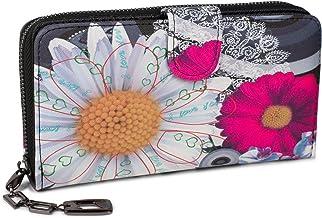 styleBREAKER Monedero con Motivo de Flores étnicas y floración, diseño Vintage, Cremallera, Mujeres 02040040, Color:Negro-Blanco-Fucsia
