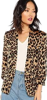 Women's Long Sleeve Open Front Leopard Print Blazer