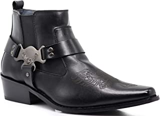 WT10 Men's Western Cowboy Motorcycle Ankle Boots