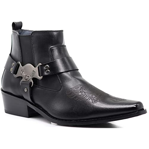 Enzo Romeo WT10 Mens Western Cowboy Motorcycle Ankle Boots