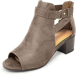 cut out side block heel boot