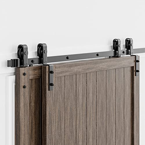 """2021 HomLux 12ft Bypass Sliding Barn Door Hardware Kit for Double Doors, Upgraded Single Track, sale Easy to Install & Reusable, Smoothly & Quietly-Fit 1 3/8-1 3/4"""" sale Thickness Door Panel, Black (J Shape Hanger) online"""