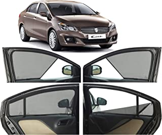 Autofact Half Magnetic Window Sunshades/Curtains for Maruti Ciaz [Set of 4pc - Front 2pc Half Without Zipper ; Rear 2pc Full with Zipper] (Black)