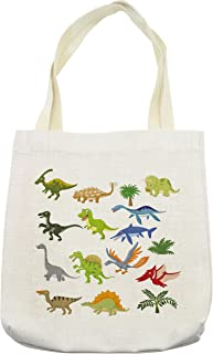 Lunarable Boy's Room Tote Bag, Cartoon Dinosaur Images with Other Elements from Jurassic Fauna Cute Creatures, Cloth Linen Reusable Bag for Shopping Groceries Books Beach Travel & More, Cream