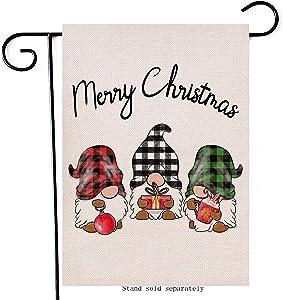 Hzppyz Merry Christmas Home Decorative Gnomes Garden Flag, Xmas Holiday House Yard Buffalo Plaid Check Welcome Decor Double Sided Winter Farmhouse Outside Decoration Seasonal Outdoor Small Flag 12x18