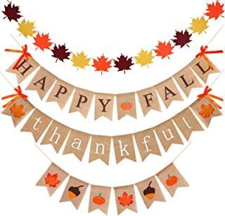 4 Pieces Thanksgiving Fall Decorations Burlap Thankful Banner Happy Fall Banner Pumpkins Maple Leaves Acorn Banner Felt Maple Leaves Garland Banner for Thanksgiving Decorations