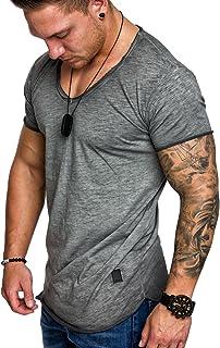 Amaci&Sons 6034 Oversize Men's Vintage T-Shirt Wash Out V-Neck Basic V-Neck Shirt