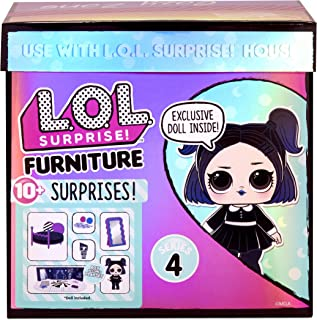 LOL Surprise Furniture Cozy Zone with Dusk Doll and 10+ Surprises, Doll Bedroom Furniture Set,...