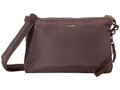 Pacsafe Stylesafe Anti-Theft Double Zip Crossbody (Mocha) Handbags