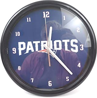 New England Patriots Large Chrome Go Patriots Wall Clock, Ideal for Family Room, Man cave or Office Decor. Wonderful Gift for Super Bowl.