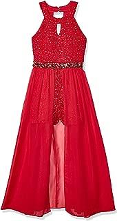Girls' High Neck Maxi Romper Dress