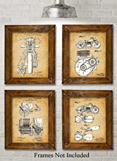 Original Indian Motorcycle Patent Prints - Set of Four Photos (8x10) Unframed - Makes a Great Gift Under $20 for Motor Cycle Riders