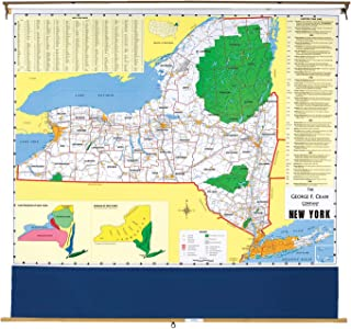 Nystrom New York Pull Down Roller Classroom Map