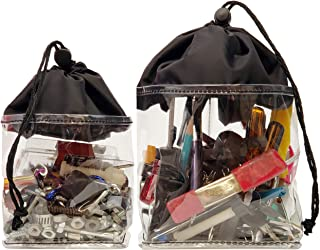 Abricay Maker Bag Set With Fabric Tray Innovation/Search Bags By Spilling Out Contents Using Easy Pick Up Design/Contains 2, Clear, Black, Drawstring Bags