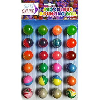 Gifts Online Colorful Bouncing Balls Stress Reliever - Birthday Return Gift for Kids (Pack of 24)