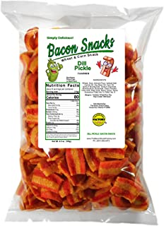 The Bacon Snack Factory - Dill Pickle Flavored Keto Friendly Low Carb per portion, Vegan Snacks, Vegetarian, Light & Crisp...