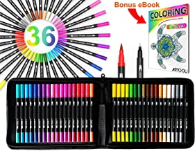 ARTOOLI 36 Dual Tip Brush Pens Art Markers Set Flexible Brush and 0.4mm Fineliner With Case - Coloring Journaling Lettering Drawing Planner Manga