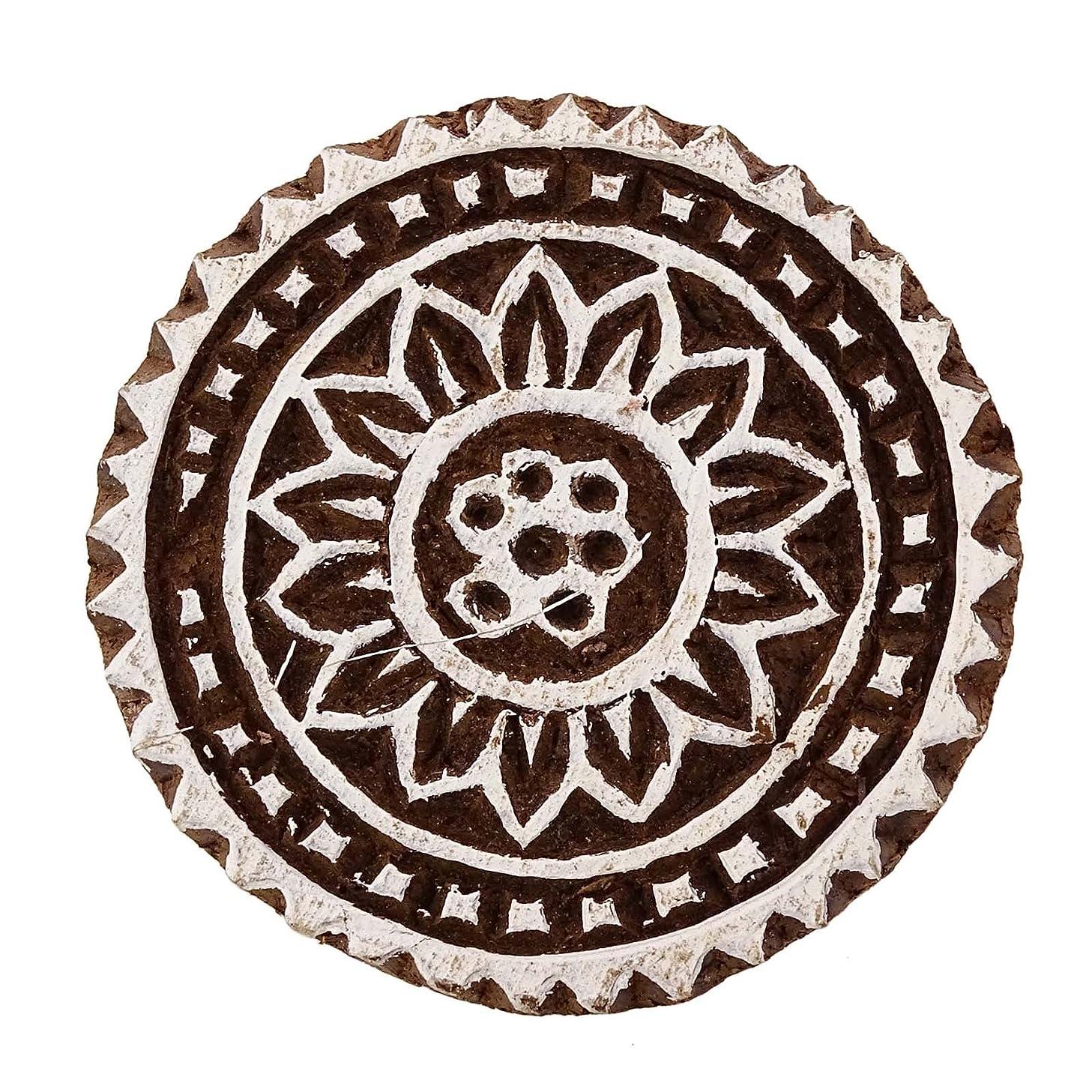 Floral Stamp Block Print Hand Carved Printing Block Brown Wooden Textile Stamp