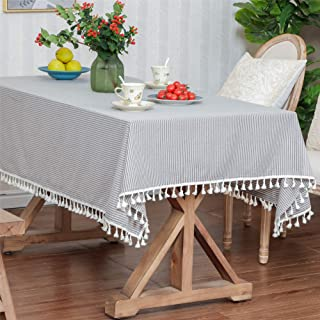 LUCKYHOUSEHOME Coffee and White Stripe Tassel Rectangular Tablecloth Cotton Linen Rural Home Kitchen Dinning Tabletop Tabl...