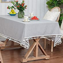 غطاء مائدة مستطيل الشكل بنمط القهوة والخطوط البيضاء من LUCKYHOUSEHOME مصنوع من القطن والكتان والمنزل والمنزل وغرفة الطعام ...