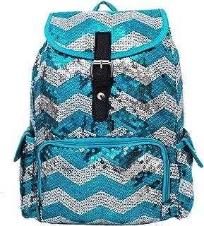 2 Tone Sequin Drawstring Cheer Yoga Dance Girly School Backpack Bookbag (Aqua)