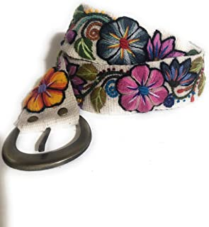 Embroidered Wool Peruvian Floral Belt, Handmade in the Andes, 100% Wool with Metal Buckle, size Medium