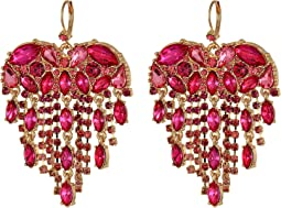 Heart Stone Fringe Drop Earrings