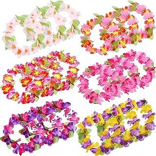 Blulu 30 Pieces Colorful Tropical Hawaiian Leis Headband Elastic Ruffled Flowers Headpiece for Luau Party Supplies, Beach Party Decorations