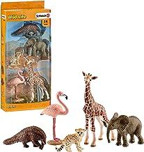 Schleich- Colección Wild Life Set de Figuras de Animales, Guepardo, Pangolín Gigante, Flamenco, Jirafa y Cría de Elefante, Multicolor (42388) , color/modelo surtido