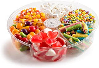 Assorted Mix of Colorful Candy Displayed in a 6 Section Round Gift Tray Perfect For any Occasion, Holiday and Corporate.
