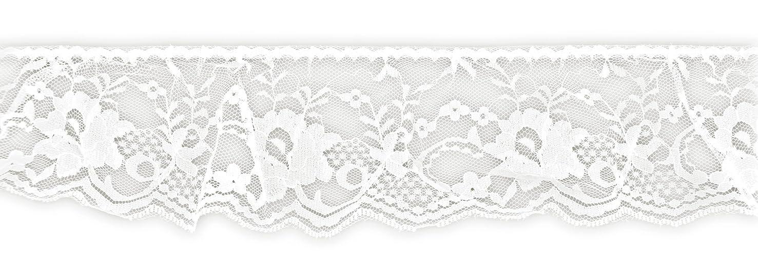 BELAGIO Enterprises BL-8005 Gathered Lace Trim White