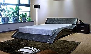 Greatime Contemporary Wave-Like Shape Leatherette Platform Bed with Slats, Eastern King Black