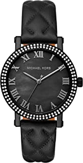 Michael Kors Womens Quartz Watch, Analog Display and Leather Strap MK2620