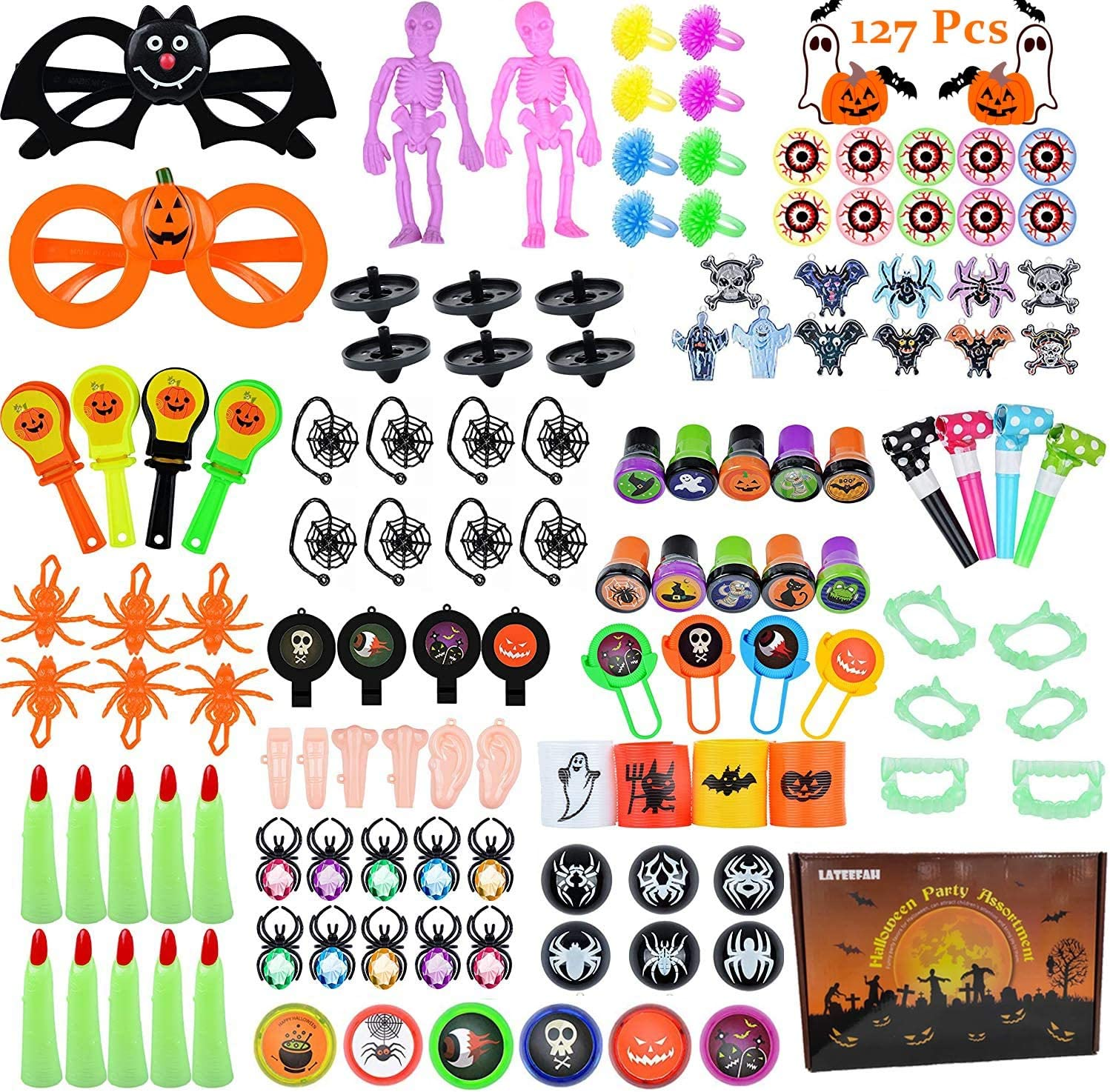 Ranking TOP20 LATEEFAH 127PCS Indefinitely Halloween Party Favors for Bulk Toy Kids