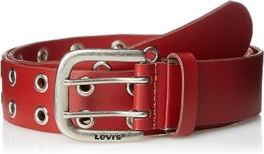 [リーバイス] ベルト メンズ 本革 刻印 Wピン サイズ調整可 レッド 最大着用サイズ102cm