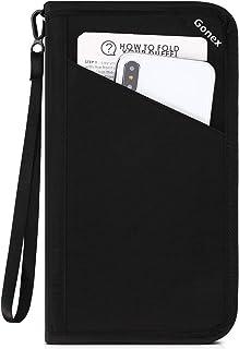Gonex Passport Holder RFID Blocking Travel Wallet with Removable Wristlet Strap for Men& Women, Water-Repellent Black