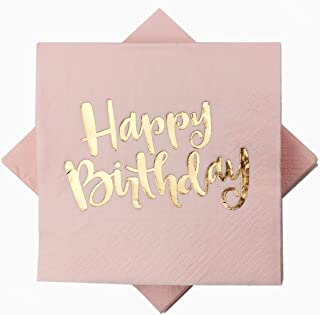 Pink Happy Birthday Cocktail Napkins 100Counts 3ply /5'' Disposable Rose Gold Foil Paper Napkins Perfect for Happy Birthday Party Weekend Party Birthday for Girls (Pink with Gold Foil Happy Birthday)