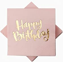 Pink Happy Birthday Cocktail Napkins 100Counts 3ply /5'' Disposable Rose Gold Foil Paper Napkins Perfect for Happy Birthda...