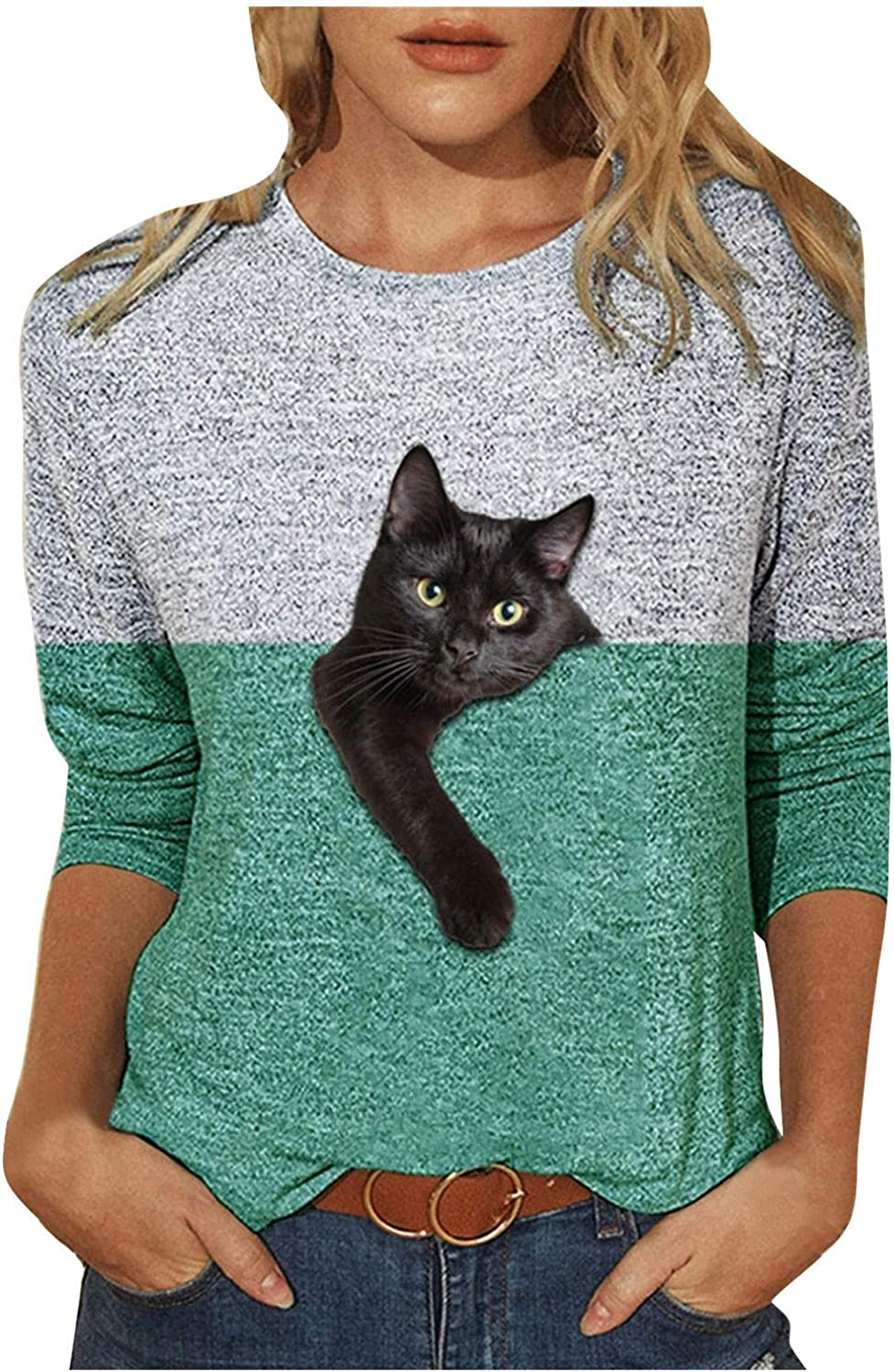 Mllkcao Women Tops for Ladies Casual Cat Print Sweatshirt Color Matching Long Sleeve Blouse Pullover
