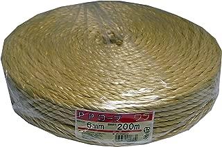 まつうら工業 多用途荷造り用 PPソフトロープ 太さ約6mm 長さ200m 3本より溶着タイプ わら色