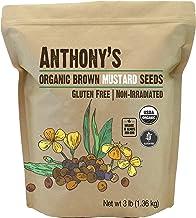 Anthony's Organic Brown Mustard Seeds, 3 lb, Gluten Free, Non GMO, Keto Friendly