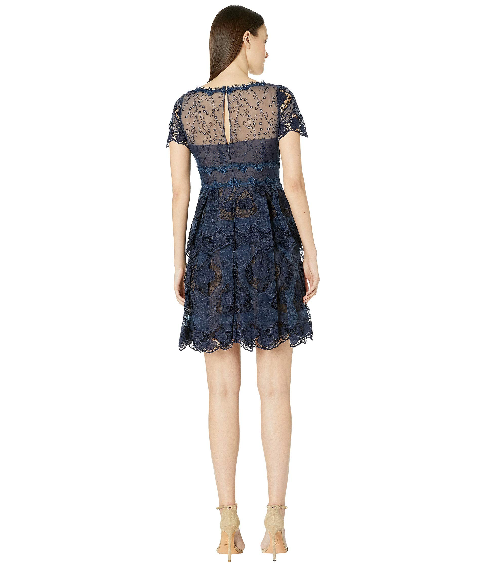 c99d9a9fa20 Marchesa Notte Short Sleeve V-Neck Organza Tiered Cocktail at Luxury ...